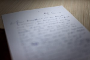 "Manuskriptseite ""Aufbruch"""